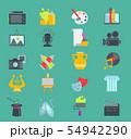 Artistic creator graphic designer icons set flat design illustration. Camera, picture, brush palette 54942290