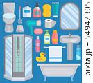 Bath equipment icons human body hygiene hower illustration for bathroom interior hygiene design 54942305