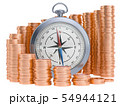 Compass with growing chart from gold coins around. 54944121