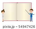 ポップなスーツを着た男女が本をバックに説明1 54947426