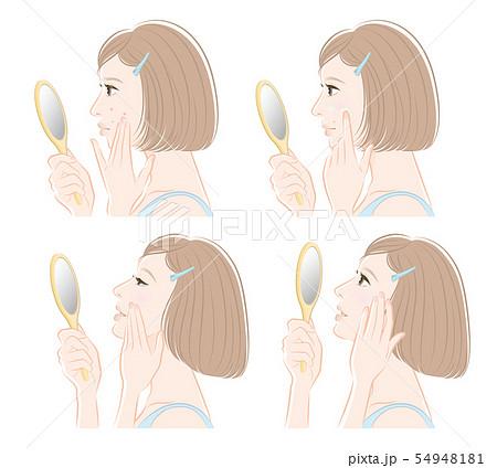 スキンケアをしている女性のイラスト 54948181