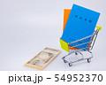 国民年金イメージ 年金手帳 札束 現金 ショッピングカート 54952370