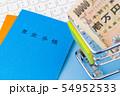 国民年金イメージ 年金手帳 ショッピングカート 札束 現金 キーボード 54952533