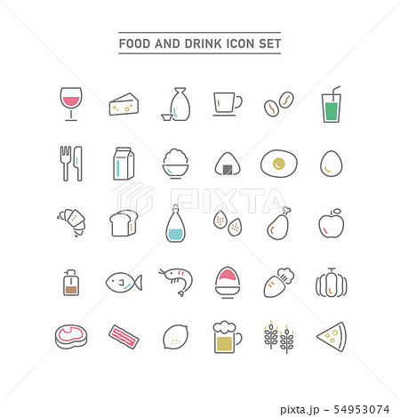 FOOD AND DRINK ICON SET 54953074