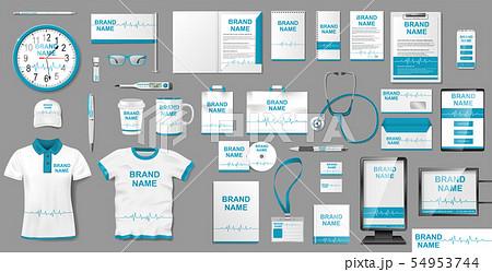 Medical Center or Pharmacy Branding identity design. Pharmacy Stationery mockup template elements 54953744