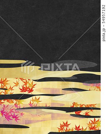 背景素材-和風-和モダン-金-紅葉-秋 54957192