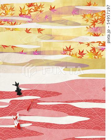 背景素材-和風-和モダン-金-紅葉-秋 54957197