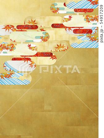 背景素材-和風-和モダン-金-紅葉-秋 54957209