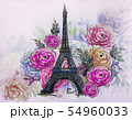 Eiffel Tower with rose flowers. 54960033