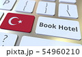 BOOK HOTEL text and flag of Turkey on the buttons on the computer keyboard. Travel related 54960210