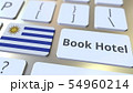 BOOK HOTEL text and flag of Uruguay on the buttons on the computer keyboard. Travel related 54960214