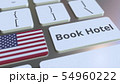 BOOK HOTEL text and flag of the United States on the buttons on the computer keyboard. Travel 54960222