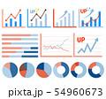 アイコン 線 アップ グラフ 折れ線グラフ 株価 チャート 円グラフ 矢印 54960673