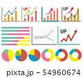 アイコン 線 アップ グラフ 折れ線グラフ 株価 チャート 円グラフ 矢印 54960674
