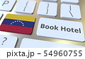 BOOK HOTEL text and flag of Venezuela on the buttons on the computer keyboard. Travel related 54960755