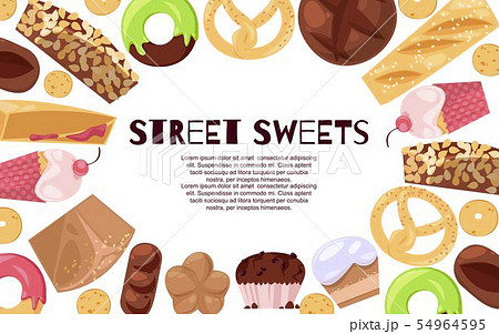 Street sweets banner vector illustration. Candies of different cuisines such as ice cream, donuts 54964595