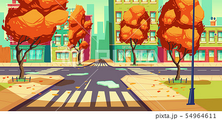 City crossroad in autumn time, empty intersection 54964611