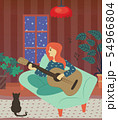 Woman Playing Guitar, Character with Cat at Home 54966804