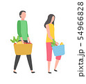 People Shopping, Buy Products Isolated Man, Woman 54966828