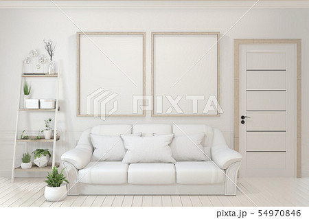 Interior poster mock up with  empty wooden frames, 54970846