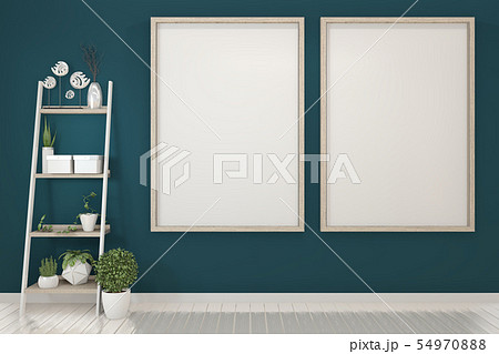 poster mock up with empty wooden frame on dark 54970888