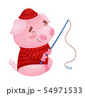 Cute pig fisherman. Vector illustration on white background. 54971533
