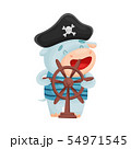 Cute hippo pirate. Vector illustration on white background. 54971545