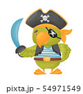 Cute parrot pirate. Vector illustration on white background. 54971549