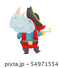 Cute rhino pirate. Vector illustration on white background. 54971554