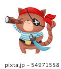 Cute brown cat pirate. Vector illustration on white background. 54971558