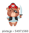 Cute bear pirate. Vector illustration on white background. 54971560