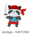 Cute panda pirate. Vector illustration on white background. 54971562