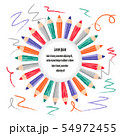 Vector border frame with colorful pencils. 54972455
