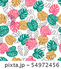 Summer watercolor palm leaves pattern. 54972456
