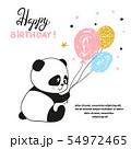 Happy Birthday card design with cute panda bear 54972465