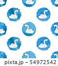 Beautiful white swans pattern. Polka dot 54972542