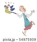 フライパンで料理する女性 イラスト 54975939