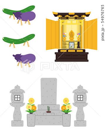 暮石と仏壇と精霊馬 54976765