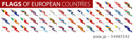 Set of flags of Europe. Vector illustration 54985542