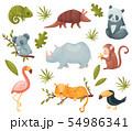Set of exotic animals. Vector illustration on white background. 54986341