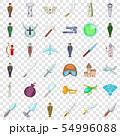 War icons set, cartoon style 54996088