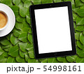 tablet white screen similar to ipad display and coffee 54998161
