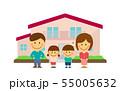 マイホーム/新築・建て替え 家族・ファミリーイラスト(デフォルメ・二頭身) 55005632