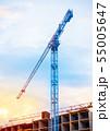 Construction cranes on blue sky background 55005647
