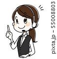 指を立てる若い女性オペレーター 55008803