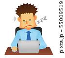 サラリーマン・ビジネスマン 若い男性イラスト/ストレス・疲労・辛い (居眠り・睡眠時無呼吸症候群) 55009519