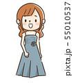 ドレスを着た若い女性 55010537