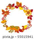 秋のフレーム 紅葉と木の実 55015941