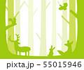 森の動物 シルエット 55015946