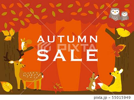 秋イメージイラスト 森の動物たち 55015949